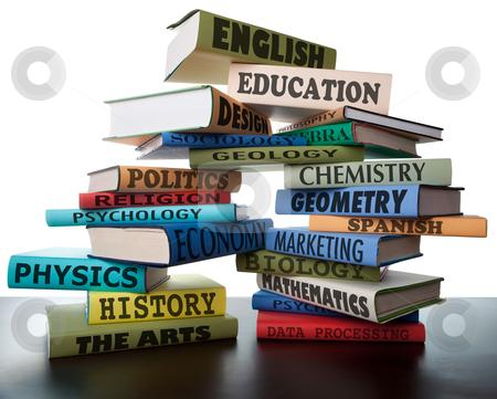 school books on a stack educational textbooks wih text education leads to knowledge