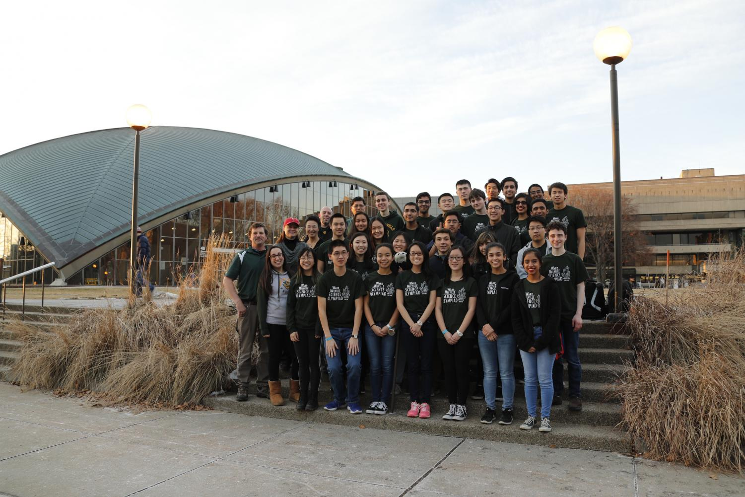Ward Melville Science Olympiad poses for a photo at the MIT campus.