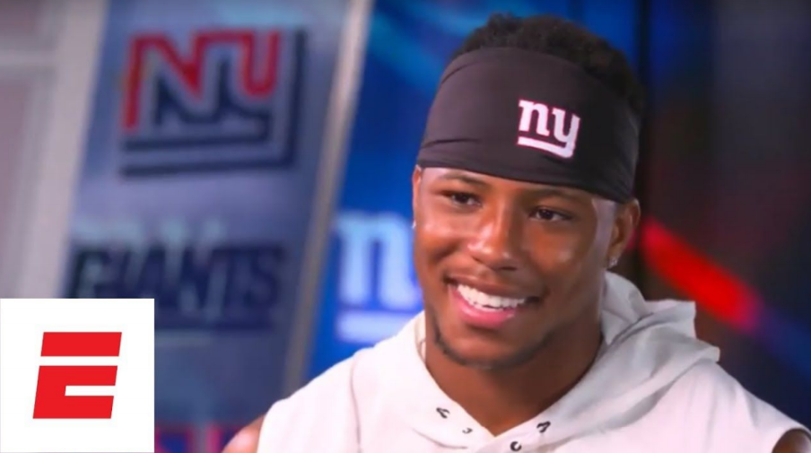 Photo Courtesy of ESPN Saquon Barkley in an interview with ESPN