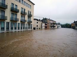 Flooding in downtown Vicenza, Italy
