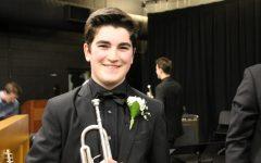Ben Fogarty, a senior trumpet player in the Jazz III Ensemble