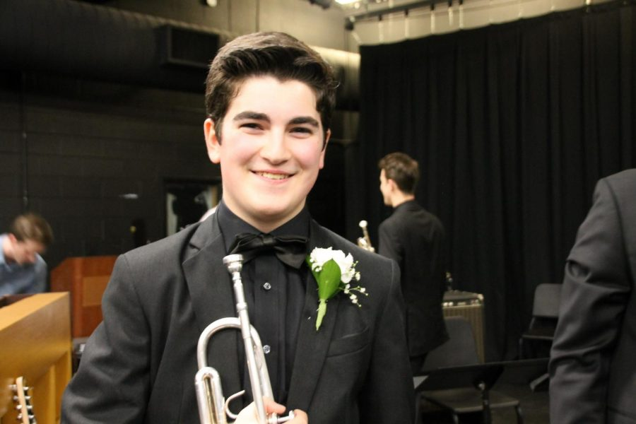 Ben Fogarty, a senior trumpet player in the Jazz III Ensemble