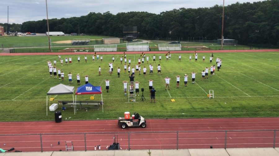 The Patriots Marching Band prepares for their 2019-2020 season during their annual Band Camp
